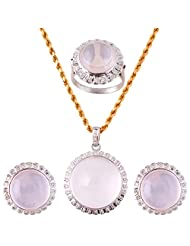 Mariya Impex Classic Collection Silver Pendant Necklace Set For Women - B00YHWMZDC