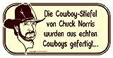 Die Cowboy-Stiefel von Chuck Norris wurden aus echten Cowboys gefertigt... Aufkleber Autoaufkleber