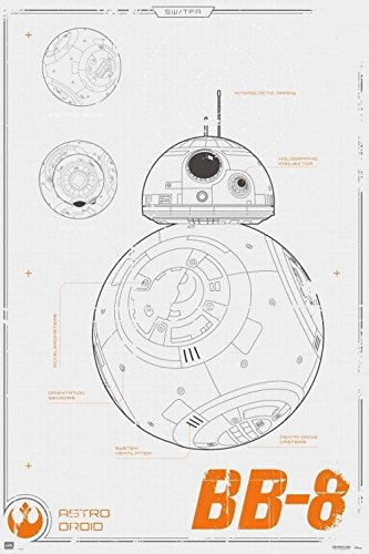 Buy three awesome star wars blueprint style poster art star wars the force awakens bb 8 blueprint 24x36 poster malvernweather Images