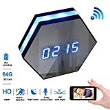 Magho 1080p Wifi Spy Clock Camera with 6Ir Night Vision,4500mAh Large Battery Long Time 2-way Communication Hidden Nanny Cam for Home Security , OV9712 180 Degrees Wide Angle Lens