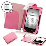 Forefront Cases Leather Case Cover Wallet with LED Reading Light and Screen Protector for Amazon Kindle 4 - Pink