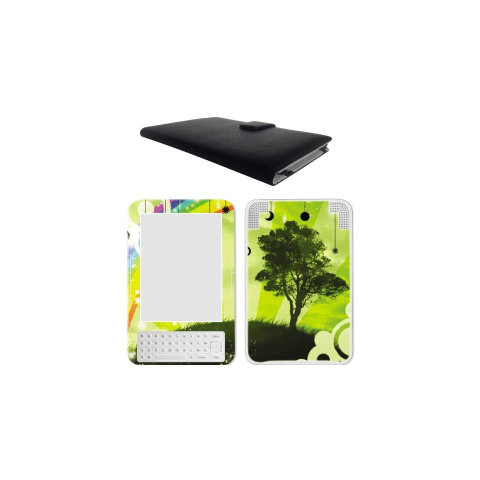 Amzon Kindle 3 (Kindle Keyboard) Leather Case Cover Jacket + Skin Sticker Ebook Accessories Combo