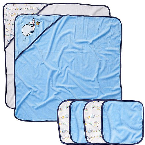 Koala Baby Boys' 2 Pack Towel and 4 Pack Washcloth Set - Blue Whale - 1