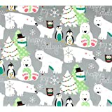 The Gift Wrap Company Holiday Wrapping Paper, 37.5 Square Feet Flat Wrap, Polar Holidays