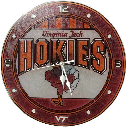 NCAA Virginia Tech Hokies 12'' Art-Glass Wall Clock
