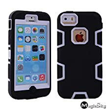 buy 5C Case, Iphone 5C Case Cover, Magicsky Full Body Hybrid Impact Shockproof Defender Case Cover For Apple Iphone 5C, 1 Pack(White/Black)