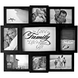 Malden International Designs The Love of A Family 8 Opening Dimensional Collage Black Picture Frame, Holds 6-4 by 6 Inch and 2-4 by 4 Inch