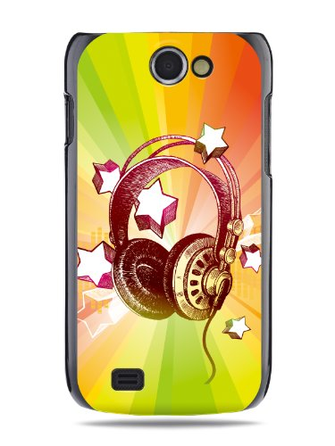 "Grüv Premium Case - ""Colorful Music Dj Headphones & Stars"" Design - Best Quality Designer Print On Black Hard Cover - For Samsung Galaxy W Wonder I8150 T679 Exhibit 2 Ii 4G"