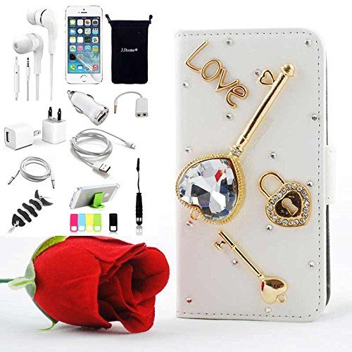 S5 Case Jjhome Accessory Bundle For Samsung Galaxy S5 Sm-G900H - Luxury Crystal Bling Wallet Leather Folio Stand Support Case, Headset Dust Plug Stylus Pen, Screen Protector, Usb Cable, Charger, Earphone, Bag, Car Charger Adapter - Love The Key White Leat front-56264