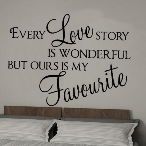 Wall sticker -Every Love Story wall quote decor sticker Bedroom Lounge -LARGE -SIZE 120cm x 60cm -Black by Windsor Designers