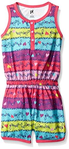 Petit Lem Big Girls Sleepwear Romper, Dark Pink, 12