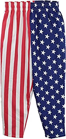 USA Flag Pants | American Patriot Roundhouse Kick of Freedom Heavy Woven Pants-L/XL