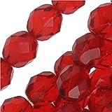"Czech Fire Polish Glass Beads 8mm Round Red ""Ruby"" (25)"