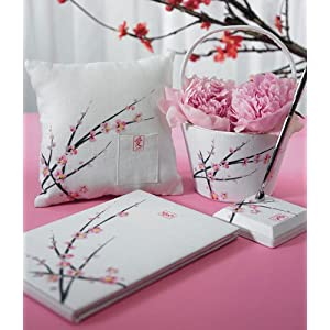 Click to buy Cherry Blossom Wedding Collection Guest Book, Pen, Ring Pillow, Basket from Amazon!