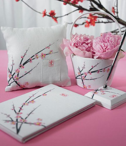 Cherry Blossom Wedding Collection Guest Book, Pen, Ring Pillow, Basket, 4 pieces Set