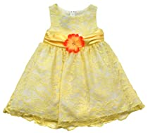 Size-2T, Yellow, RRE-71433, Yellow White Lace Overlay Dress, Rare Editions TODDLERS, Special Occasion Wedding Flower Girl Party Dress