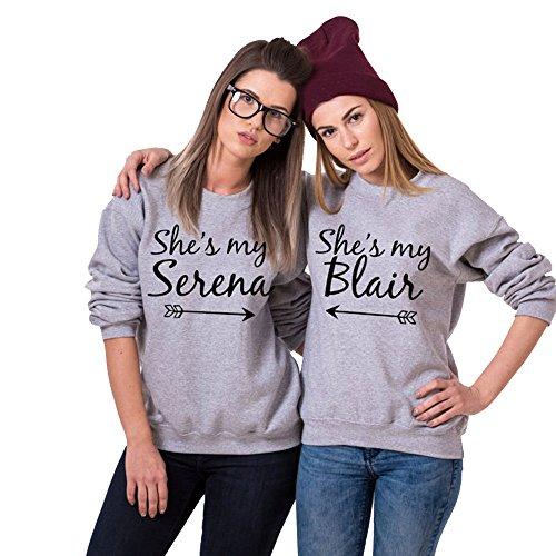 Sharondar She's My Serena & Blair BFF Felpe Migliore amico accoppiamento Maglione Tops Camicetta (S, Serena)