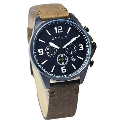 Esprit ES108001002 - Reloj de cuarzo para hombre, correa de cuero color marron (Khaki Brown)