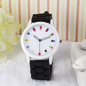 Women Ladies Clourful Dots Silicone Unisex Unisex Quartz Watch JJC001-Black
