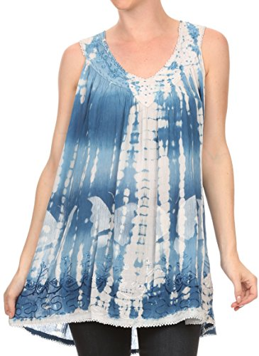 Sakkas 11632 - Kalelay Long Tall Sleeveless Tie Dye Embroidered Tank Top Blouse Shirt - Blue - OS
