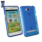 Emartbuy® Huawei Ascend G615 Wave Pattern Gel Skin Cover Blue