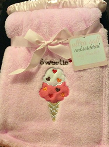 "Ultra Soft Embroidered ""Sweetie/ Ice Cream Cone"" Baby Blanket"