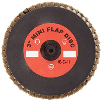 Merit Mini Powerflex Abrasive Flap Disc, Type 27, Plastic Thread Quick Change, Fiber Backing, Zirconia Alumina