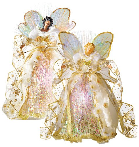Fiber Optic Angel Tree Topper - African American