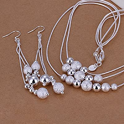 Hot Sale Wedding Fashion 925 Silver Plated Jewelry Set Earings Eardrop Necklace Three Chains With Three Rows Of Beads