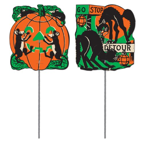 Beistle 01434 2-Pack Scratch Cat Yard Signs, 5-1/2-Inch by 5-Inch