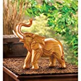 Gifts & Decor Lucky Elephant Bull Figure Wood Look Statue Figurine