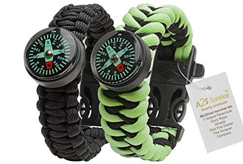 A2S Paracord Bracelet Survival Gear Kit Colorful Everest Series with built-in New Type Compass, Fire Starter, Emergency Knife & Whistle - Pack of 2 - (Black / Neon Green Glow in the Dark)