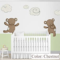 Teddy Bears Decals & Clouds Wall Stickers as Nursery Wall Décor (Chestnut)