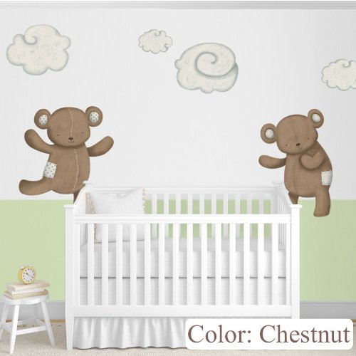My Wonderful Walls Nursery Wall Decor Teddy Bears Decals and Clouds Wall Stickers, Chestnut