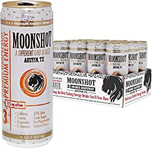 MOONSHOT Sparkling Orange Grapefruit Energy Drink • 30% Juice • 115mg Caffeine • Pure Cane Sugar • No Artificial Flavors, Sweeteners, Colors or Preservatives • A Cut Above Other Energy Drink Brands