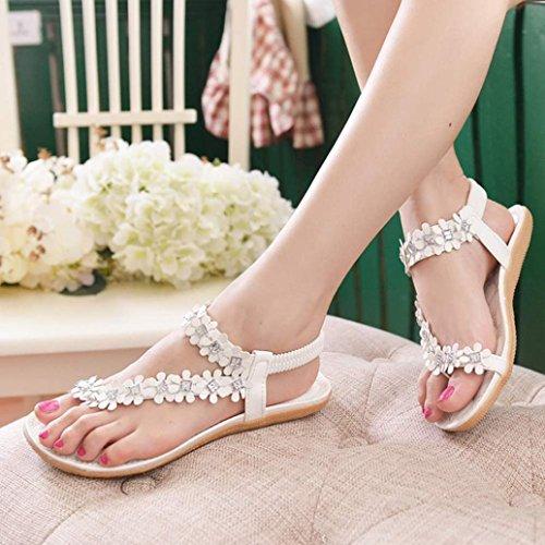 AutumnFall® Women's Summer Bohemia Flower Beads Flip-flop Shoes Flat Sandals (6.5, White)