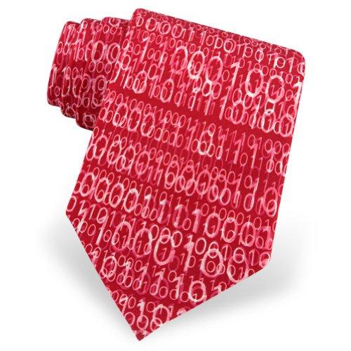 Men's Binary Code Silk Ties by Wild Ties in Red
