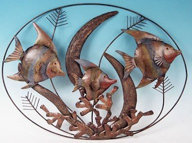 Large Decorative Tropical Fish Metal Wall Plaque