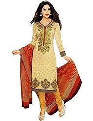Shiroya Brothers Women's Cotton Unstitched Salwar Suit Dress Material (SB_1013_Beige)