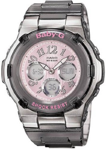 Casio Baby-G World Time Alarm Chrono - Perpetual Calendar - Gray Resin Band