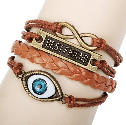 Kitty-Party New Fashion 100% Hand-Made Hand-Woven Antique Brass Best Friend 8-Mark Eye-Ball Design Exotic Feeling Ladies Women Men Hand Chain Bracelet Bangles With Synthetic Hand-Woven Leather Band