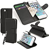 Madcase Apple iPhone 5 5s Premium Leather Wallet case Stand Cover incl. Screen Protector and Stylus Touch Pen - Black