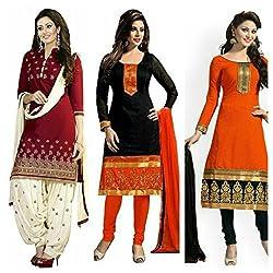 Sky Global Women's Printed Unstitched Regular Wear Salwar Suit Dress Material (Combo pack of 3)(SKY_501_Red)(SKY_502_Black)(SKY_502_Orange)