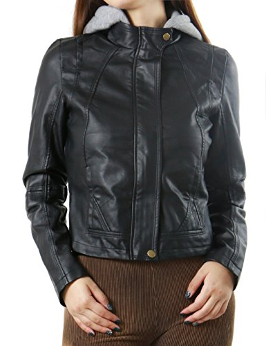Classic Zip Up Faux Leather Moto Bomber Fashion Jacket for Women (SMALL, BLACK-J9165)