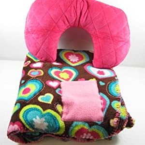 Inflatable Travel Neck Pillow and Blanket Ideal for Planes Trains and Automobiles (Power of Love)