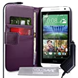 Yousave Accessories HTC Desire 610 Case Purple PU Leather Wallet Cover With Car Charger