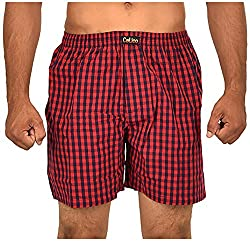 CALICO Men's Cotton Boxers (CAL_04_M, Red and Black, M)