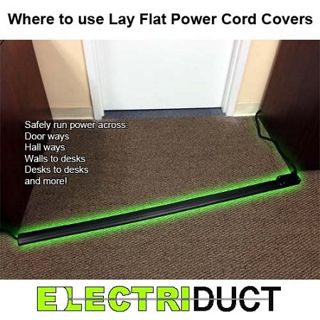 flat electrical power extension cord cover length 10ft color black new ebay. Black Bedroom Furniture Sets. Home Design Ideas