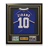 France 1998 Maillot Football, Signé par Zinedine Zidane, luxe encadrée avec inlay or