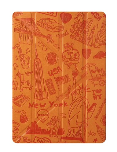 Ozaki OC111NY O!Coat Travel Slim-Y 360-deg faltbare Tasche für Apple iPad Air New York (inkl. Stylus-Halter) orange